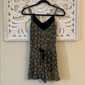 Band of Gypsies Blue Floral Romper with Tassels